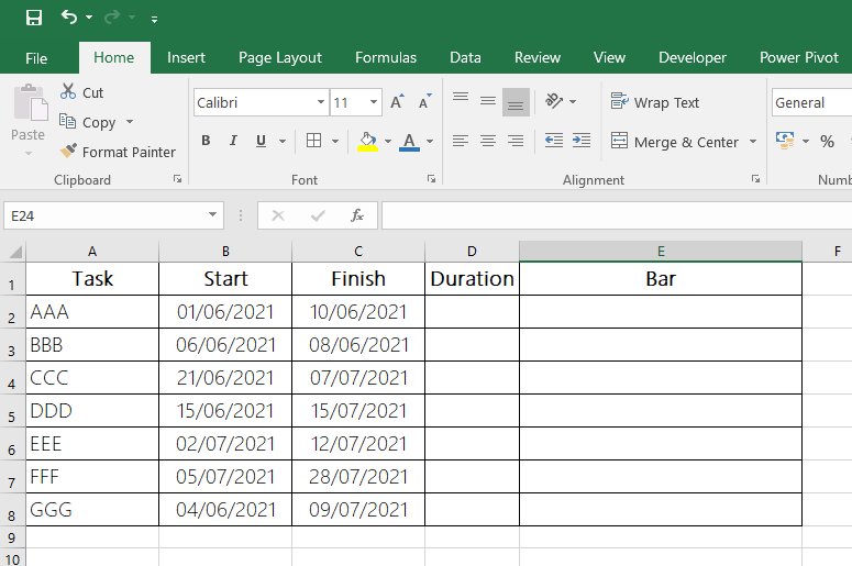 Article Fast Gantt Chart with Excel - Fig 1 - Data Table