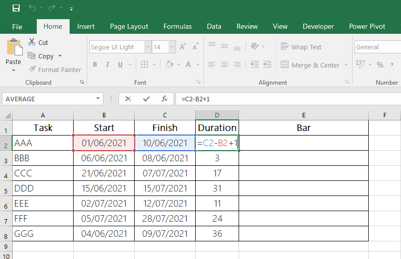 Article Fast Gantt Chart with Excel - Fig 2 - Duration Calculation