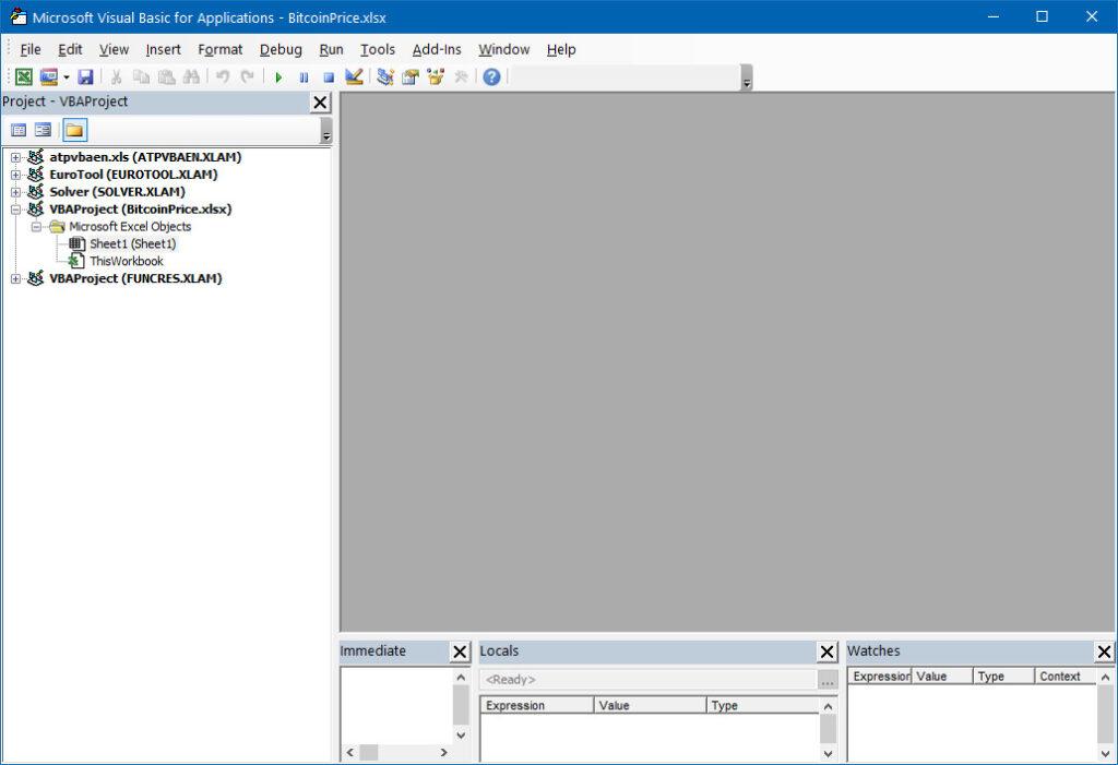 Fig. 2 - Visual Basic Editor (VBE) development environment for development in Visual Basic For Application (VBA)