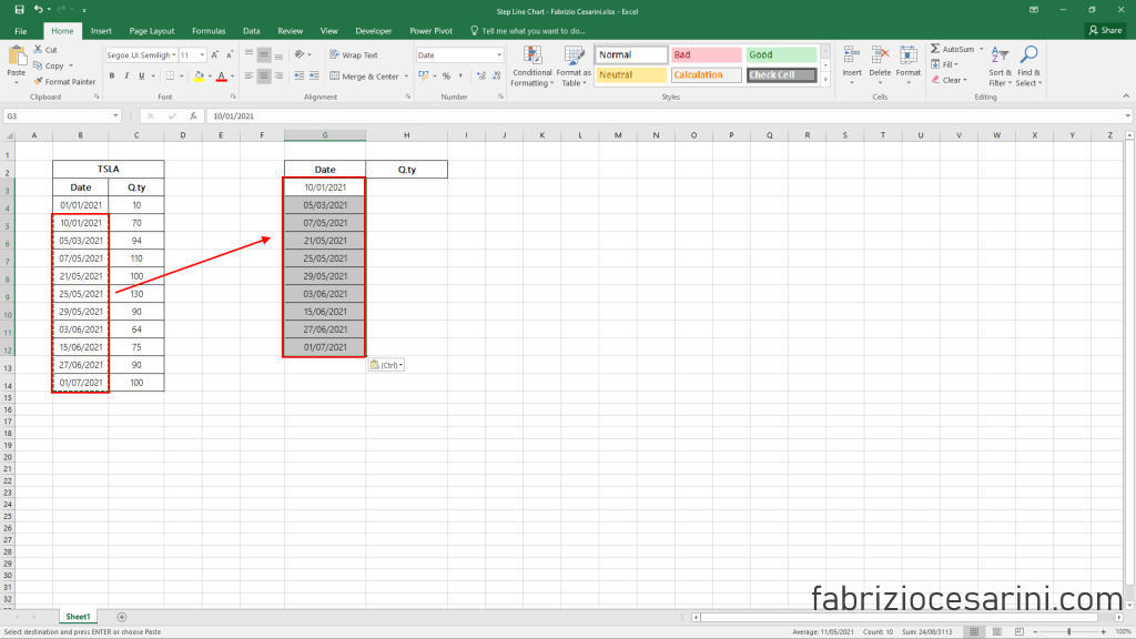 Step Line Chart with Excel - Figure 3 - Copy Data Column